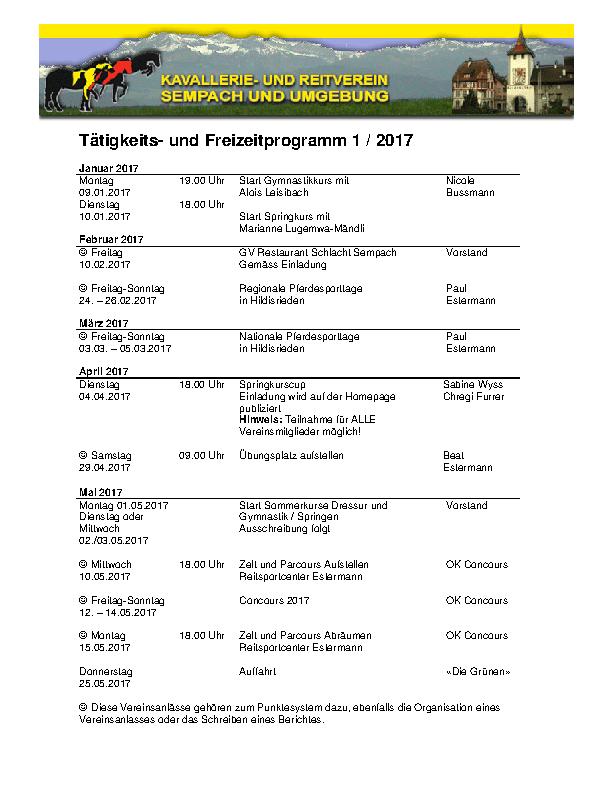 Tätigkeitsporgramm 1 2017